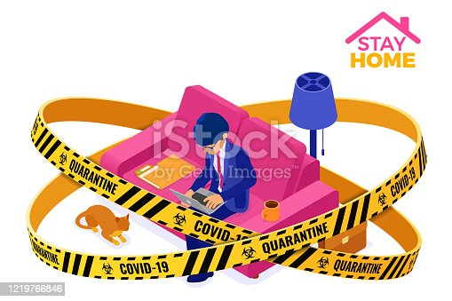 covid-19 coronavirus quarantine stay home businessman working from home. man sits at sofa inside warning barrier tape and working on laptop. isometric characters. covid-19 coronavirus isolated vector