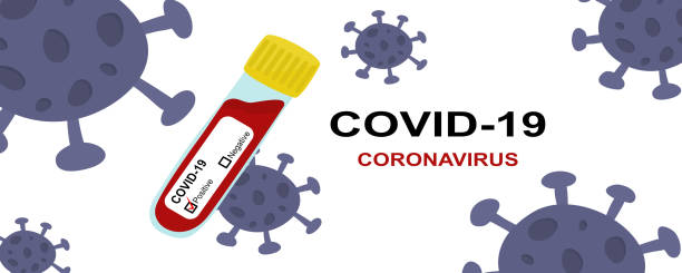 covid-19 coronavirus text and result test tube correct from patient with virus on white background - covid testing stock illustrations