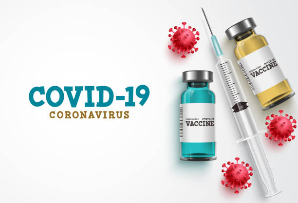 ковид-19 коронавирусной вакцины лечения вектор фона. бутылка вакцины covid19, инструмент для инъекций шприца - covid vaccine stock illustrations