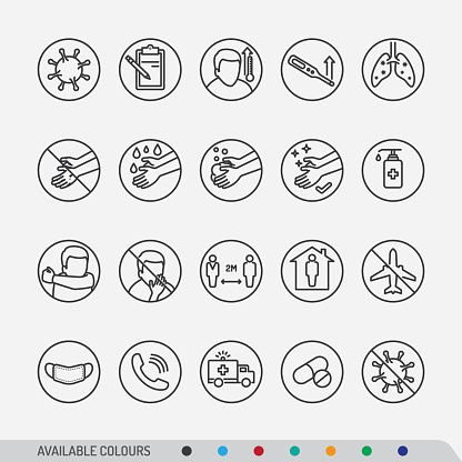 Covid-19 disease symptoms and preventions colourful line-art icons