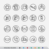 A set of line art icons for Coronavirus (2019-nCoV) disease symptoms and preventions. Different colour options are available in layers.