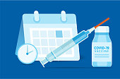 Vector illustration of a Covid-19 virus vaccine booking appointment. Simple icons that includes vector eps and high resolution jpg in download.