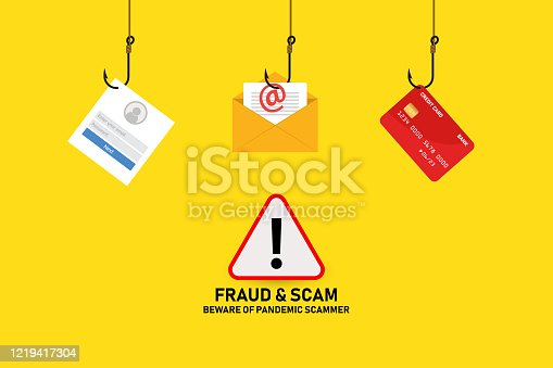 Illustration vector: Covid-19 fraud and scam alert