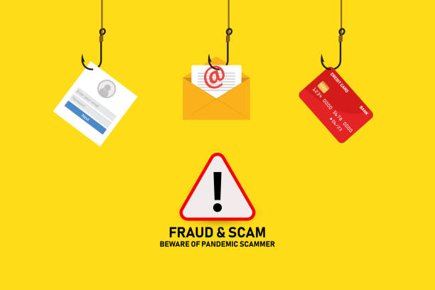 Covid-19 fraud and scam alert Illustration vector: Covid-19 fraud and scam alert phishing stock illustrations