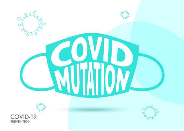 covid-19 genetic mutation konzeptdesign. schutzmaske. coronavirus oder covid-19 ausbruch influenza als gefährliche grippestamm fälle als pandemie konzept banner flachen stil illustration stock illustration. - ffp2 maske stock-grafiken, -clipart, -cartoons und -symbole
