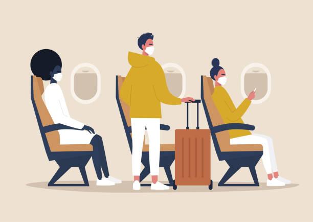 ilustrações de stock, clip art, desenhos animados e ícones de covid-19, pandemic, coronavirus,  passengers wearing protective masks on board, a side view of an airplane cabin - covid flight