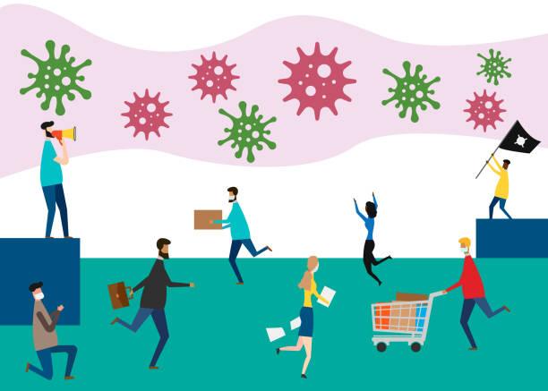 ilustrações de stock, clip art, desenhos animados e ícones de covid-19 panic concept. unhappy people are afraid and panic. vector illustration. - supermarket worker