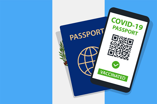 Covid-19 Passport on Guatemala Flag Background. Vaccinated. QR Code. Smartphone. Immune Health Cerificate. Vaccination Document. Vector