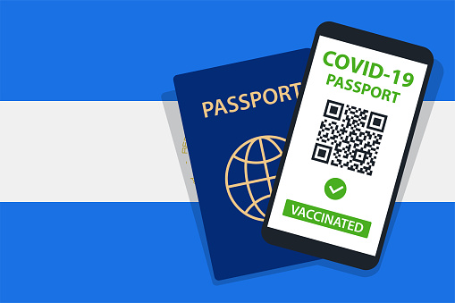 Covid-19 Passport on Nicaragua Flag Background. Vaccinated. QR Code. Smartphone. Immune Health Cerificate. Vaccination Document. Vector