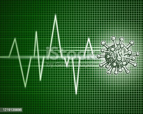 Drawn of vector COVID-19 pulse trace sign. This file of transparent and created by illustrator CS6.