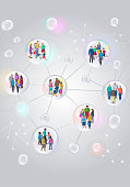 Diverse group of people in social distancing groups during Coronavirus. coronavirus, Covid-19, pandemic, virus, social bubble, shield, tracing, contact tracing,