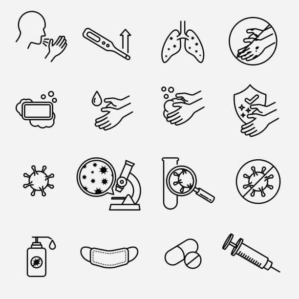 bildbanksillustrationer, clip art samt tecknat material och ikoner med covid-19 symtom och försiktighetsåtgärder - corona test