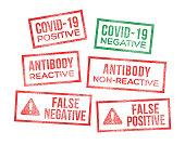 istock Covid-19 Test Results Coronavirus Rubber Stamps 1277120130