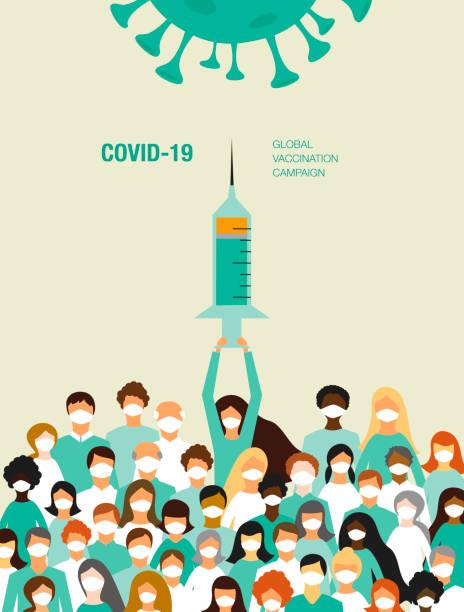 Covid-19 vaccination campaign vector art illustration