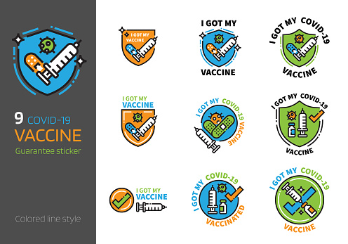 Covid-19 vaccination sign colored line style.