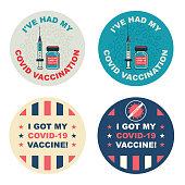 istock Covid-19 Vaccination Sticker set 1302657508