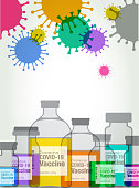 Colourful silhouettes of Vaccine Medical Vials, coronavirus, Covid-19, pandemic, cure, Hypodermic needles