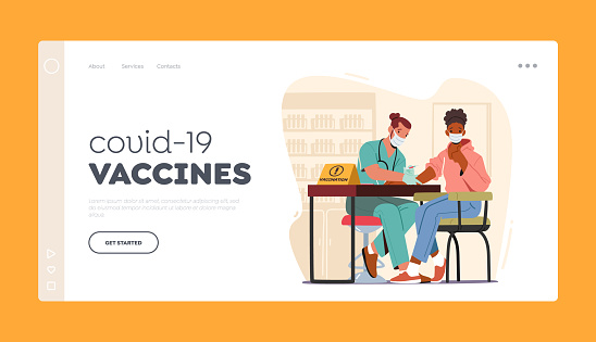 Covid-19 Vaccines and Vaccination Landing Page Template. Doctor Character Injecting Coronavirus Remedy to Patient Arm