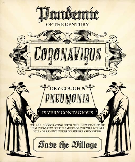Covid-19 Vintage Retro Plague Announcement Flyer or Poster Template for Coronavirus vector art illustration