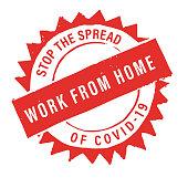 Covid-19 Work At Home Retro Badge