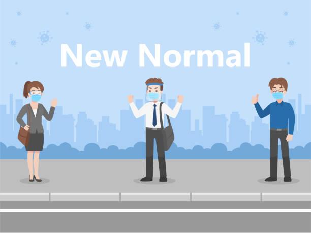 illustrazioni stock, clip art, cartoni animati e icone di tendenza di covid67 - new normal