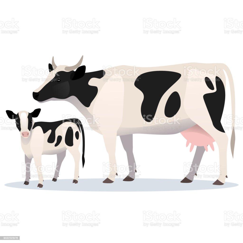 Ilustración de Vaca Y Becerro Ilustración De Vector De Vaca Adulta Y ...