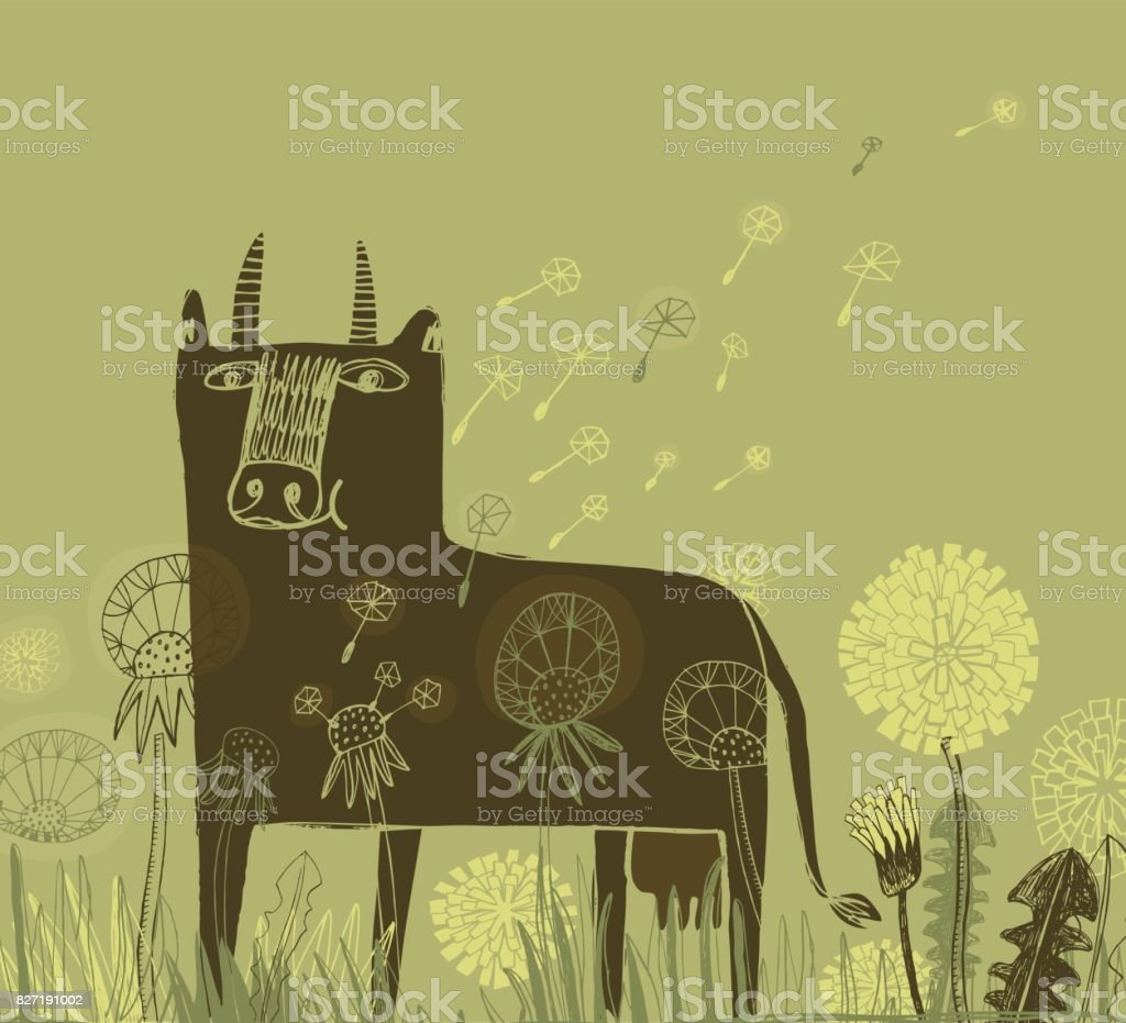 Cow and dandelions vector art illustration