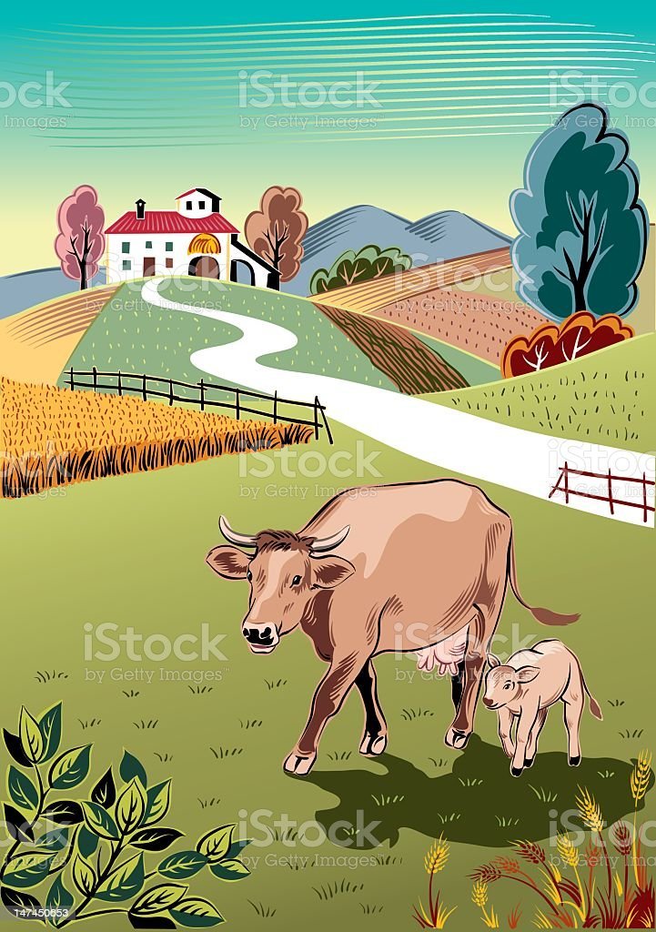 cow and her calf vector art illustration