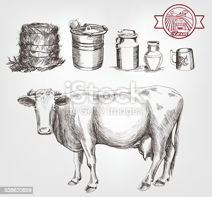 two cows and dairy products set of vector sketches on a white background