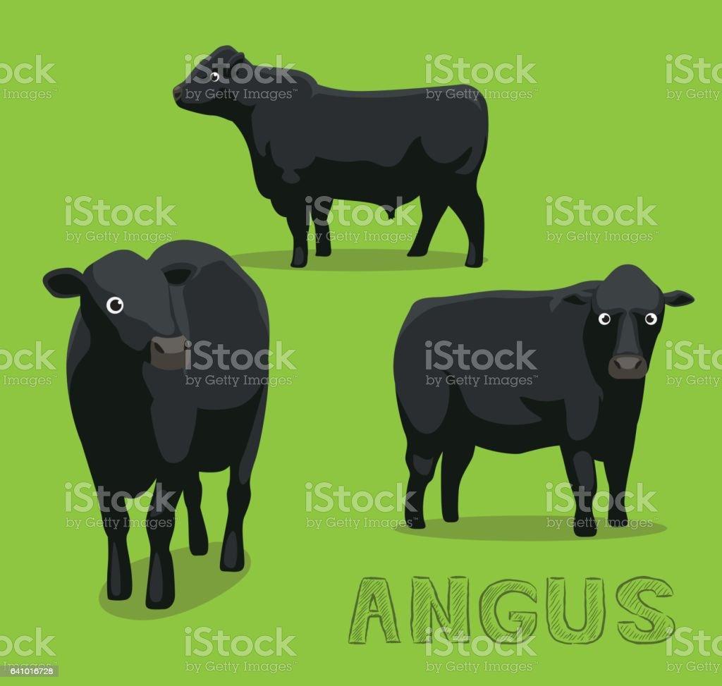 Cow Angus Cartoon Vector Illustration vector art illustration