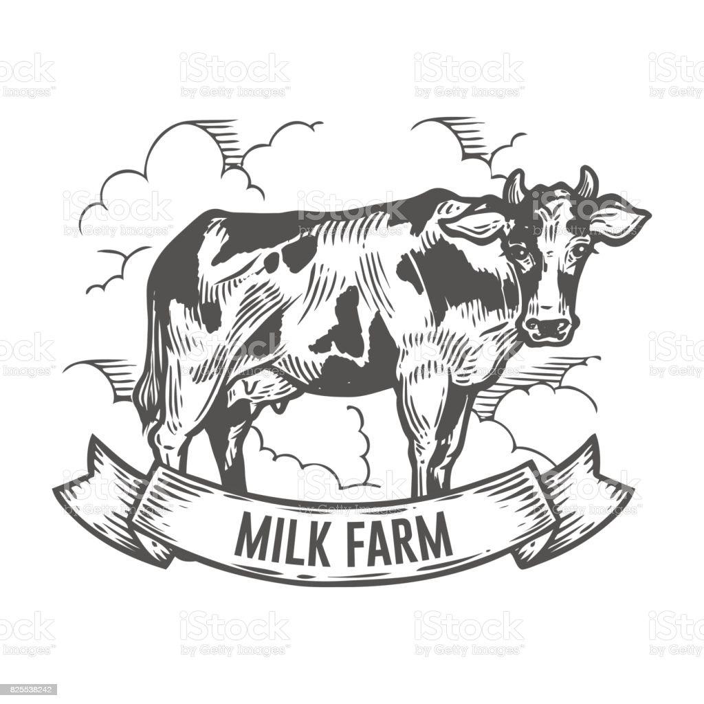 牛動物牛乳ファーム バナーグラフィック スタイルの手描きのスケッチ