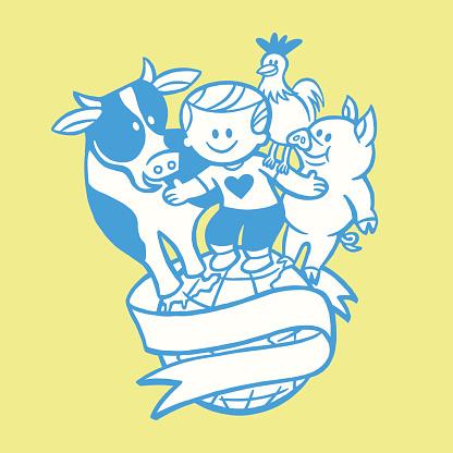 Cow Boy Chicken Pig on the World Banner