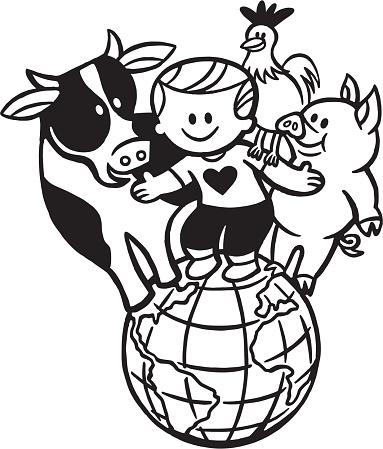 Cow Boy Chicken Pig on the World