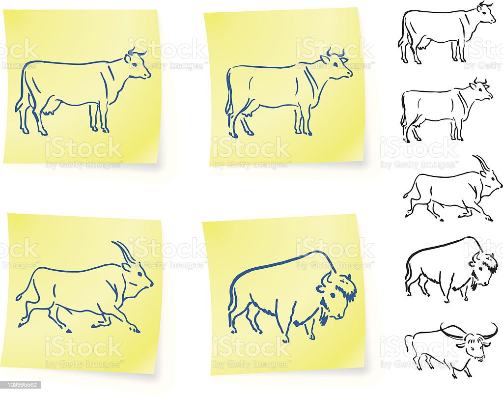cow buffalo and bison on post it notes vector art illustration