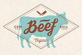 Cow, bull, beef. Vintage lettering, retro print, poster for Butchery meat shop, cow silhouette with lettering text Beef. Isolated black silhouette cow for meat business, meat shop. Vector Illustration