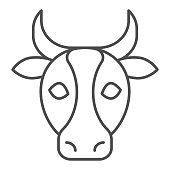 Cow, bull head thin line icon. Farm animal face silhouette, looking at you. Animals vector design concept, outline style pictogram on white background, use for web and app. Eps 10
