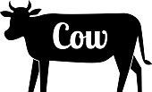 Cow butcher logo black silhouette with text. Vector cartoon illustration