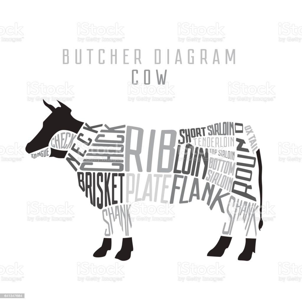 cow butcher diagram cut of beef set typographic vintage vector id641347684 cow butcher diagram cut of beef set typographic vintage stock vector