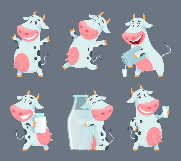 Cow cartoon. Cute farm milk animal character in various action poses vector funny mascot Cow cartoon. Cute farm milk animal character in various action poses vector funny mascot. Illustration of farm cow animal with milk bottle domestic cattle stock illustrations
