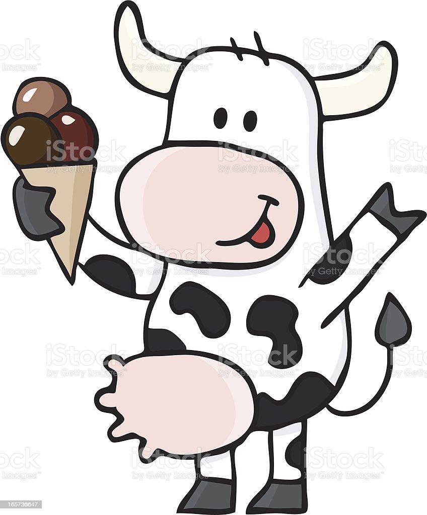cow cartoon / icecream is made from milk royalty-free stock vector art