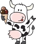 illustration of a happy comic cow holding a ice cream cornet with scoops of chocolate