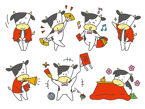 Cow character, loose hand-drawn illustration set, for New Year's holidays
