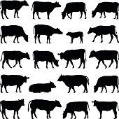Cow, bull, calf silhouette illustration