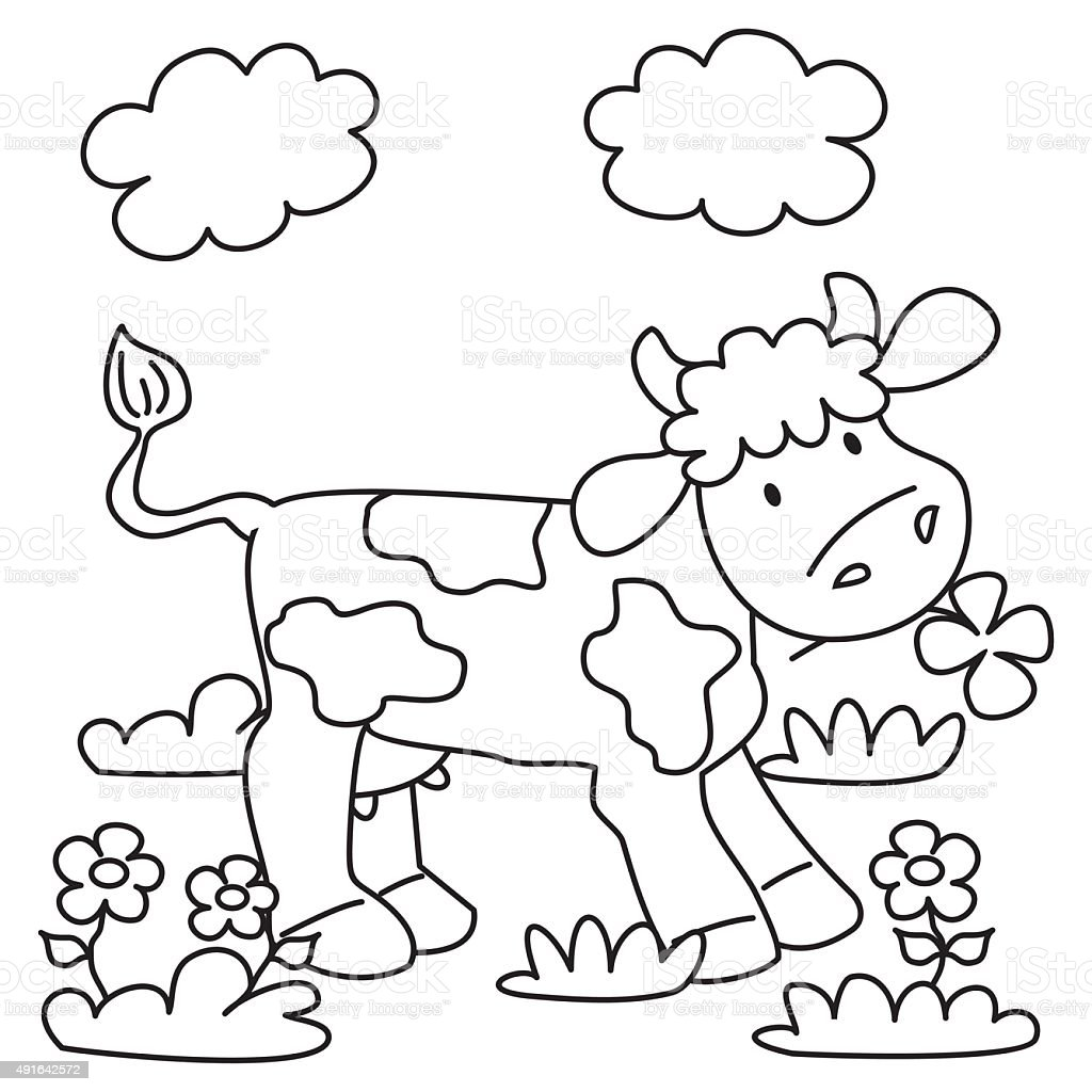 Cow Coloring Book Stock Vector Art & More Images of 2015 491642572 ...