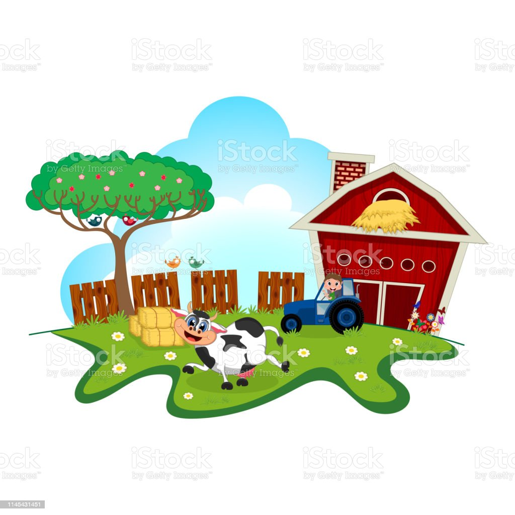 Cow Dance Cartoon In A Farm For Your Design Stock
