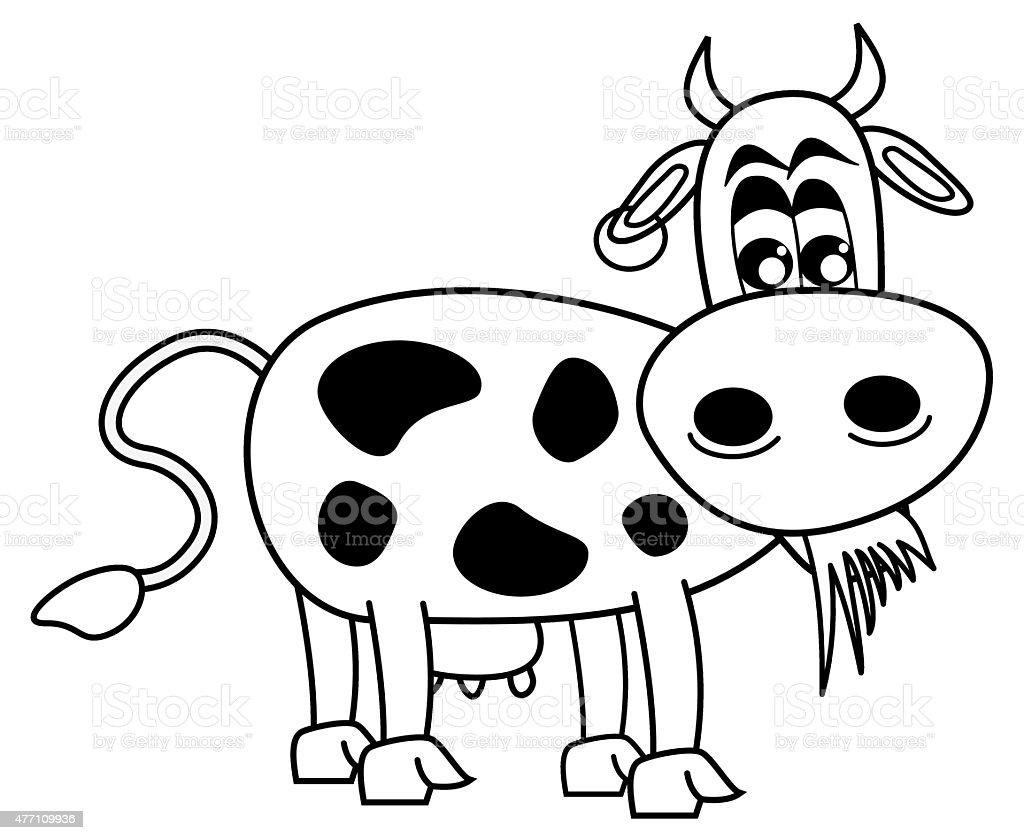 Ilustración de Vaca Comer Hierba Para Colorear y más banco de ...