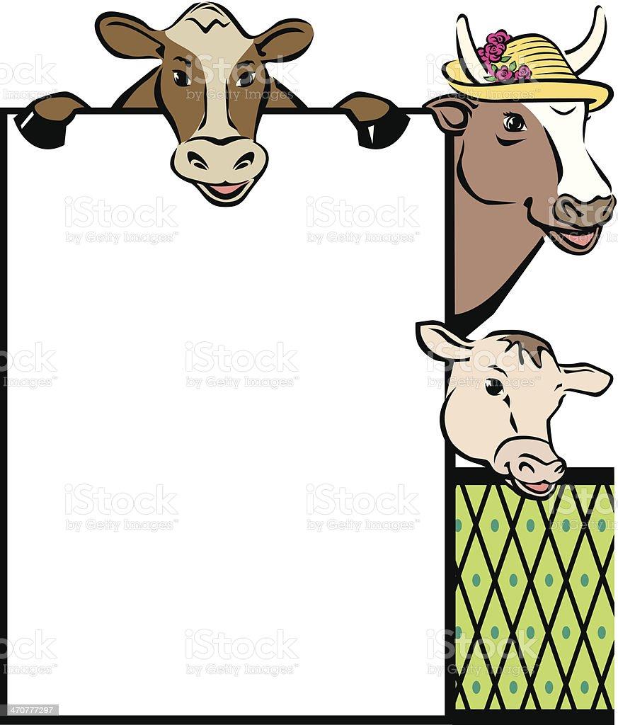 Cow Family Frame royalty-free stock vector art