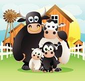 Fully editable vector illustration of a family of cartoon cows on a farm background.