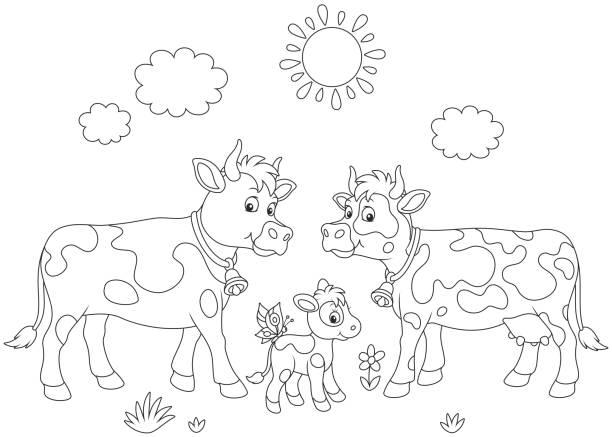 ausmalbild kuh mit kälbchen | kinder ausmalbilder