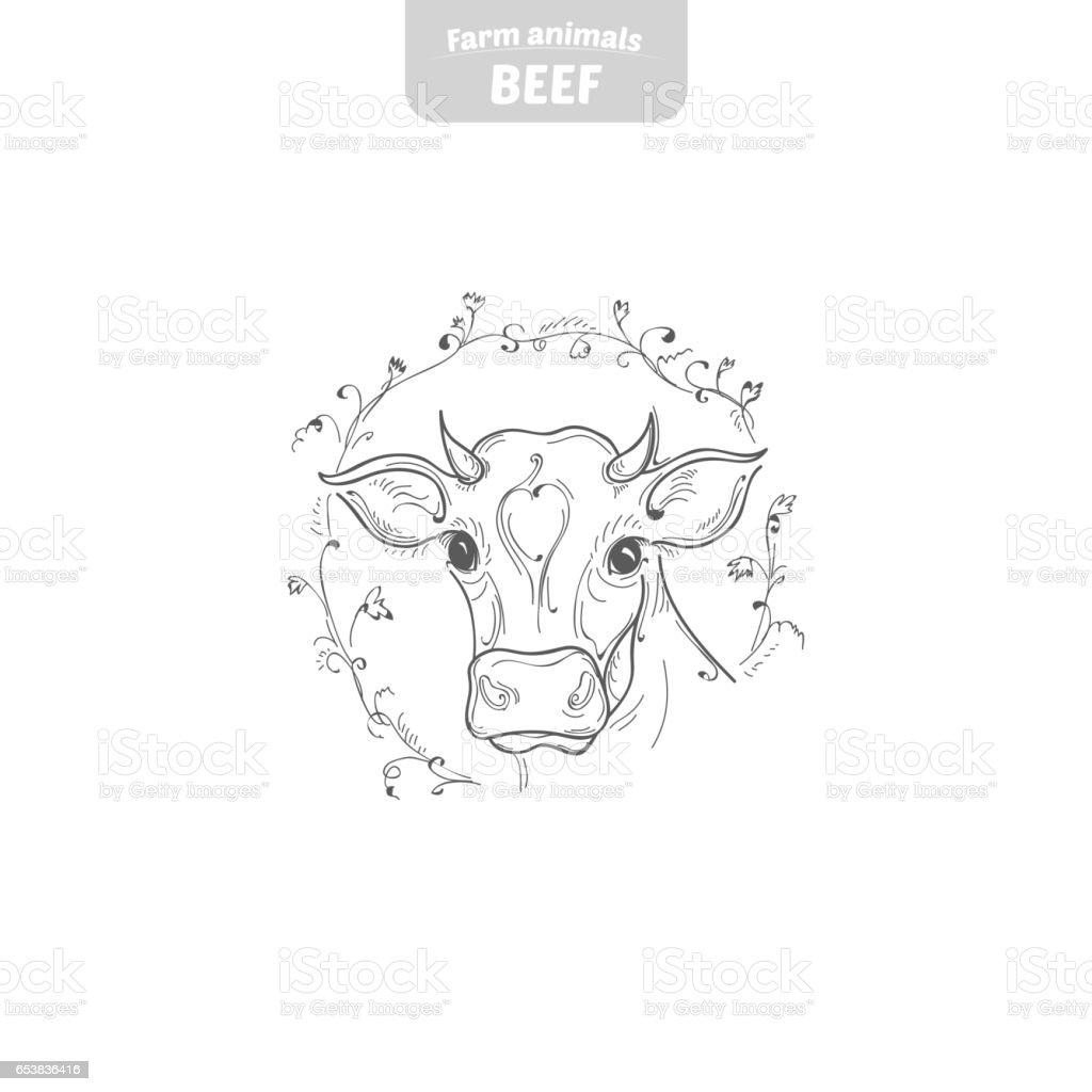 Cow hand-drawn vector illustration. vector art illustration